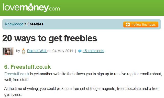 FreeStuff.co.uk in Lovemoney.com