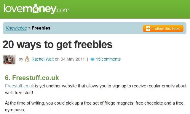 FreeStuff.co.uk in Lovemoney.com