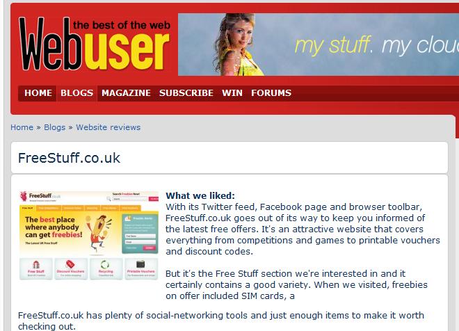 Freestuff.co.uk Bronze Award from Webuser
