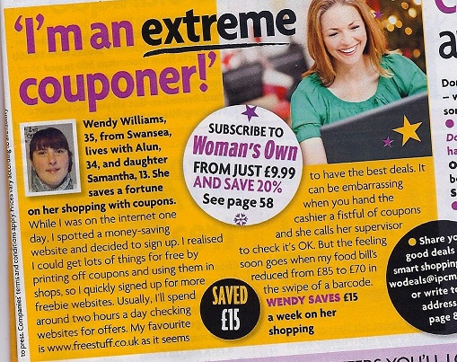 Freestuff.co.uk featured in Woman's Own