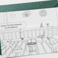 Free Fire Hazards Colouring In Postcard